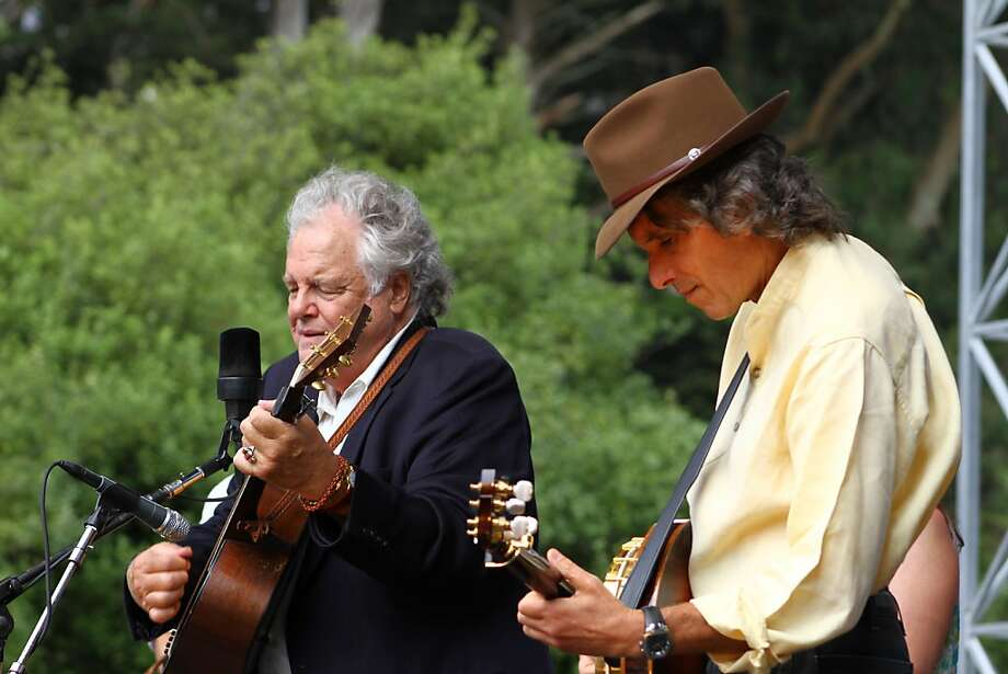 Peter Rowan (left) performs with Keith Little at the final day of Hardly Strictly Bluegrass in Golden Gate Park on October 7, 2012. Photo: Clint Wirtanen, The Chronicle