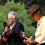 Peter Rowan (left) performs with Keith Little at the final day of Hardly Strictly Bluegrass in Golden Gate Park on October 7, 2012.