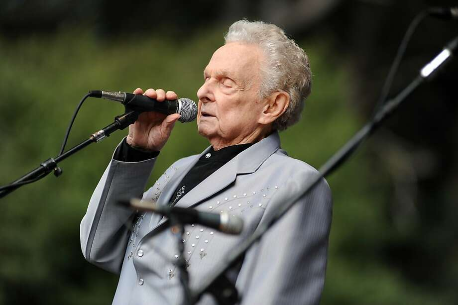 """Ralph Stanley of Ralph Stanley and the Clinch Mountain Boys sings a solo of the song """"O Death"""" during their performance on the Banjo Stage.   Day 3 of the Hardly Strictly Bluegrass festival in Golden Gate Park in San Francisco, CA Sunday October 7th, 2012. Photo: Michael Short, Special To The Chronicle"""