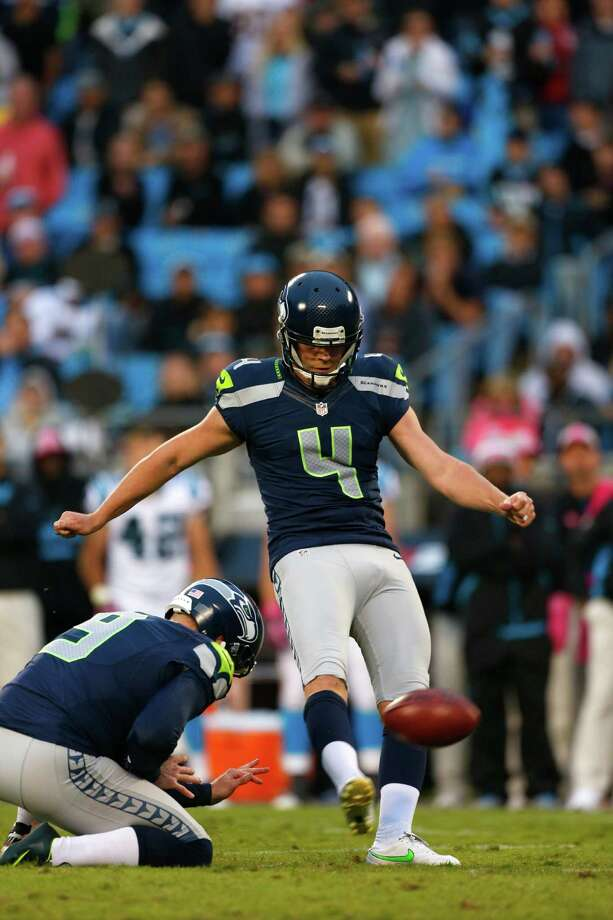 Seattle Seahawks' Steven Hauschka (4) kicks a field goal against the Carolina Panthers during the fourth quarter of an NFL football game in Charlotte, N.C., Sunday, Oct. 7, 2012. The Seahawks won 16-12. Photo: AP