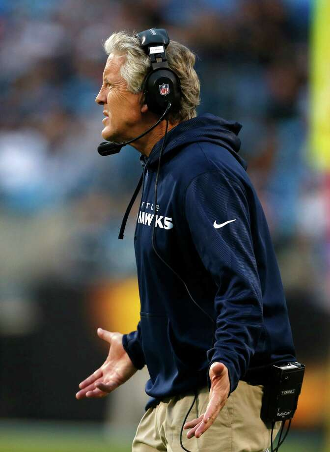 Seattle Seahawks head coach Pete Carroll reacts to a call during the third quarter of an NFL football game against the Carolina Panthers in Charlotte, N.C., Sunday, Oct. 7, 2012. Photo: AP