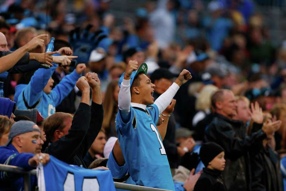 Carolina Panthers fans react during the third quarter of an NFL football game against the Seattle Seahawks in Charlotte, N.C., Sunday, Oct. 7, 2012. Photo: AP