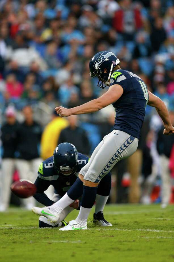 Seattle Seahawks' Steven Hauschka (4) kicks an extra point against the Carolina Panthers during the third quarter of an NFL football game in Charlotte, N.C., Sunday, Oct. 7, 2012. Photo: AP