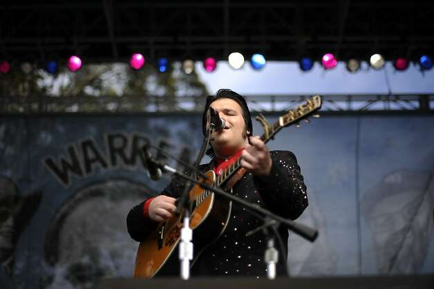 Nathan Stanley, grandson of Ralph Stanley and the Clinch Mountain Boys sings  during their performance on the Banjo Stage.   Day 3 of the Hardly Strictly Bluegrass festival in Golden Gate Park in San Francisco, CA Sunday October 7th, 2012. Photo: Michael Short, Special To The Chronicle