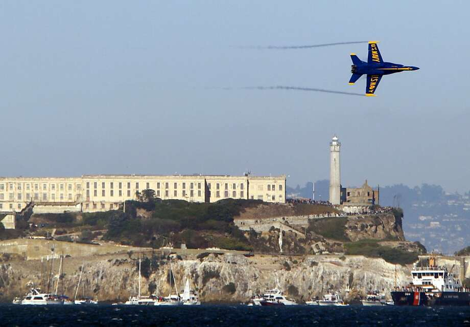 The Blue Angels fly over Alcatraz Island during Fleet Week Super Sunday in San Francisco, Calif., Sunday, October 7, 2012. Photo: Sarah Rice, Special To The Chronicle
