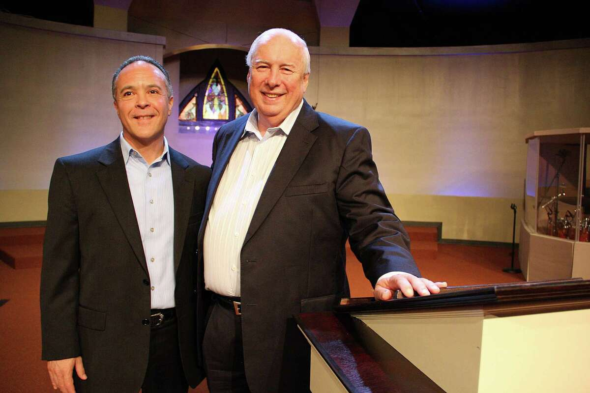 """Associate Pastor Fernando Ruata, left, focused his Sunday sermon at Encourager Church on """"the biblical perspective"""" of key issues in the presidential race. Pastor Bob Phillips said Encourager has participated for several years."""