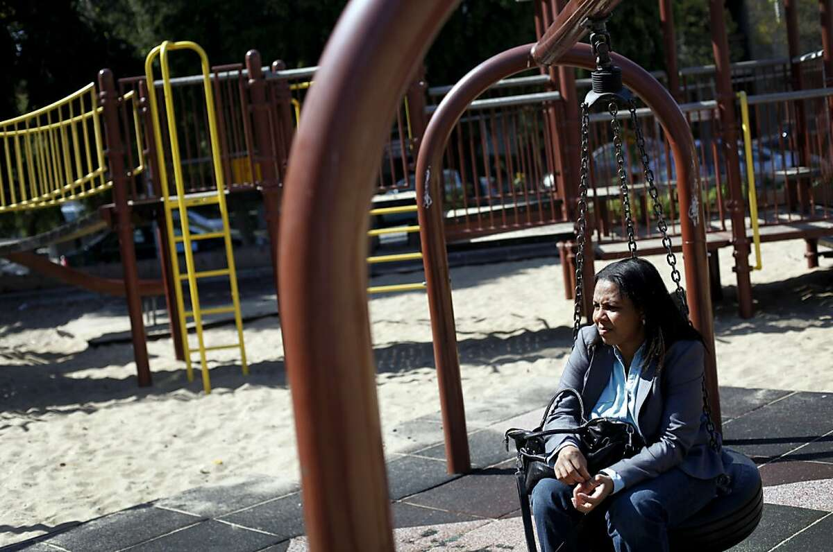 Sheryl Davis, the executive director of local collaborative Mo' Magic, looks out over an empty Margaret Hayward Playground in San Francisco, Calif., Saturday, September 29, 2012. Davis said the park doesn't get a lot of use from people in the neighborhood, and improvements need to be made.