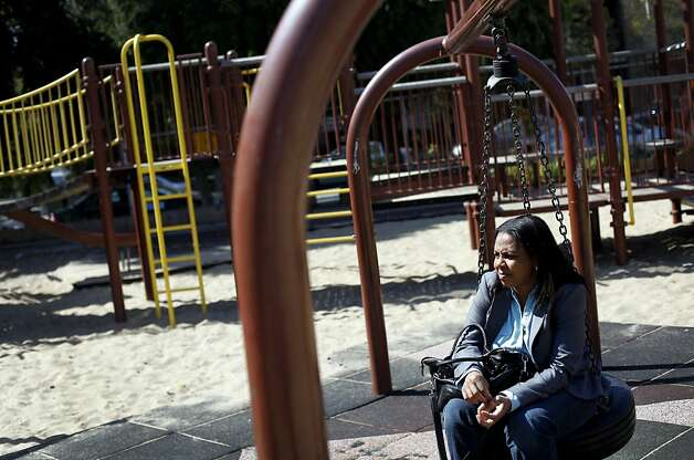 Sheryl Davis says the run-down Margaret S. Hayward playground isn't used much. Photo: Sarah Rice, Special To The Chronicle