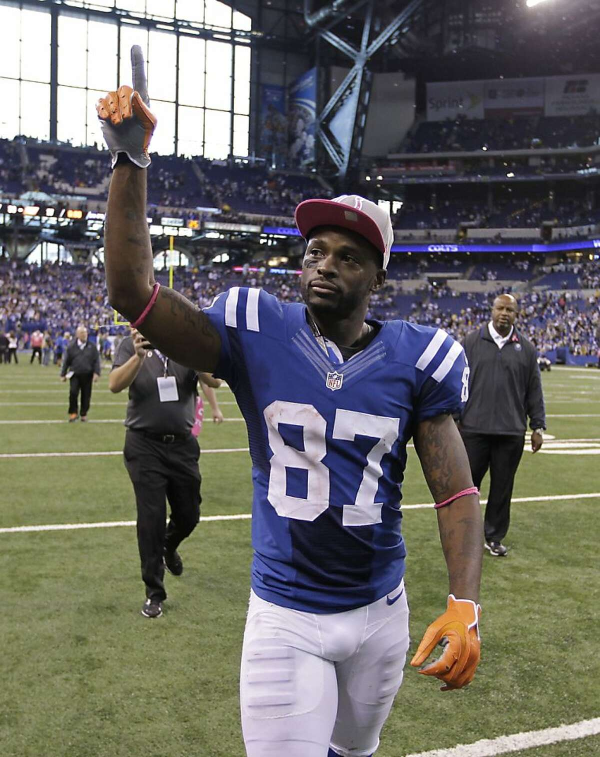 Indianapolis Colts wide receiver Reggie Wayne reacts to fans following an NFL football game against the Green Bay Packers in Indianapolis, Sunday, Oct. 7, 2012. (AP Photo/Michael Conroy)