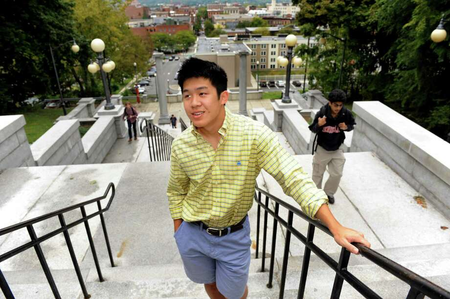 RPI student body president Kevin Dai, 20, stands on the Approach, which links the City of Troy with the RPI campus, on Wednesday, Sept. 26, 2012, at Rensselaer Polytechnic Institute in Troy, N.Y. (Cindy Schultz / Times Union) Photo: Cindy Schultz / 00019424A