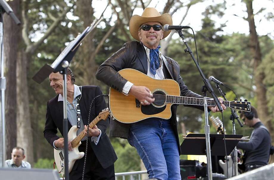 Jimmie Vaughan (left) and Dave Alvin play with Doug Sahm's Phantom Playboys on the Star Stage during the last day of the music festival Hardly Strictly Bluegrass in Golden Gate Park in San Francisco, Calf., on Sunday, October 7, 2012. Photo: Laura Morton, Special To The Chronicle