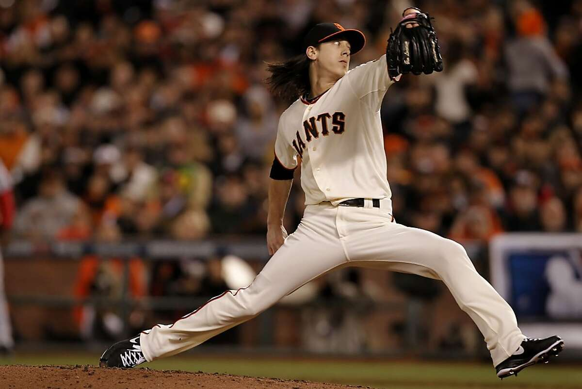 Giants Tim Lincecum came in to pitch in the sixth inning as the San Francisco Giants took on the Cincinnati Reds in game two of the National League Divisional Series at AT&T Park San Francisco, Calif., on Sunday October 7, 2012.