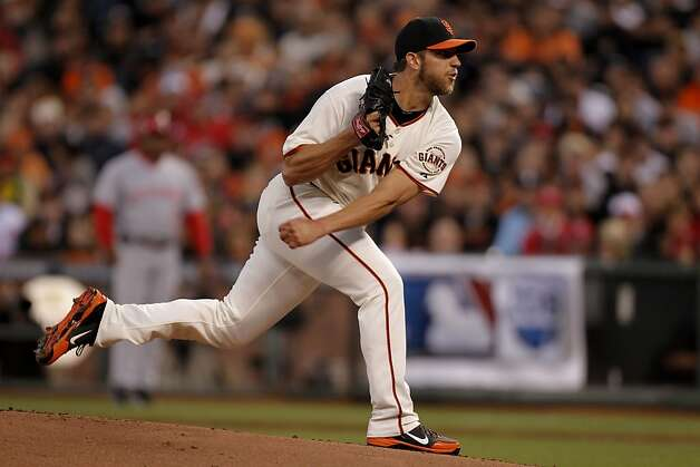 Left-hander Madison Bumgarner is on target to pitch the NLCS opener, his first start in a best-of-seven series since Game 4 of the 2010 World Series. Photo: Michael Macor, The Chronicle