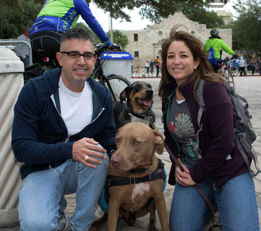 From the left, Roger and Barbara Tavares with Ripley and Indie, participating in Síclovía, from Alamo Plaza to Mahncke Park, Sunday, October 7, 2012. Photo: J. MICHAEL SHORT, For The Express-News / The San Antonio Express-News