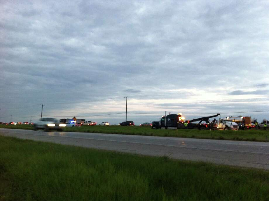 Officials have shut down the westbound lanes of I-10 between FM 1516 and Foster Road after an early-morning crash. Photo: Ana Ley/Express-News