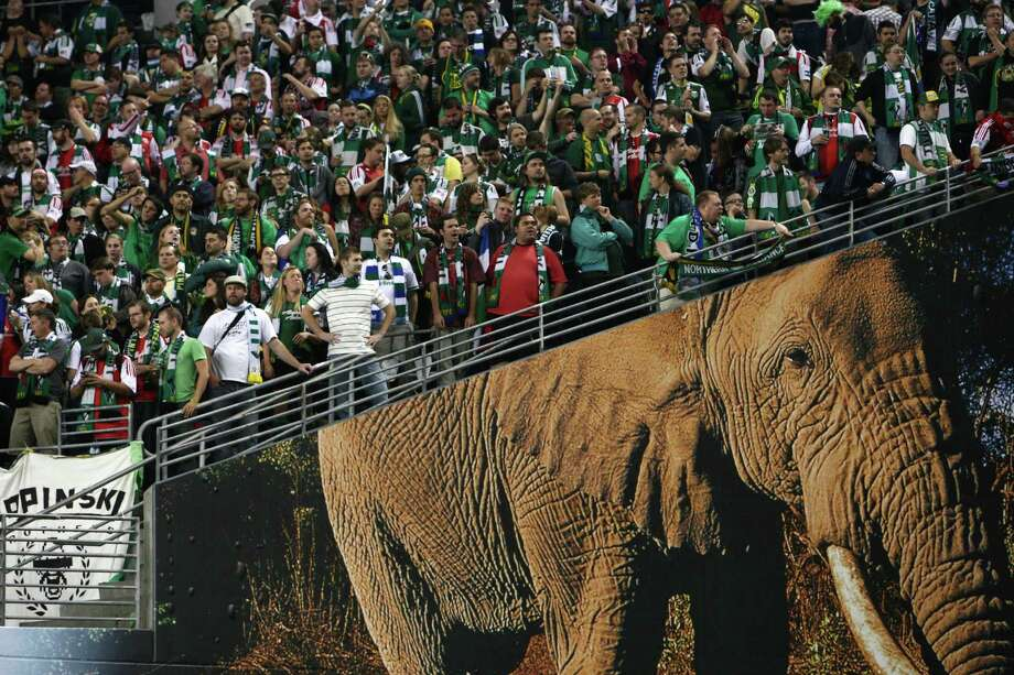 The Portland Timbers Army watches from their section in CenturyLink Field as their team loses to the Seattle Sounders on Sunday, October 7, 2012. The Sounders beat the Timbers in front of a Seattle record MLS crowd of more than 66,000 fans. The sounders won 3-0. Photo: JOSHUA TRUJILLO / SEATTLEPI.COM