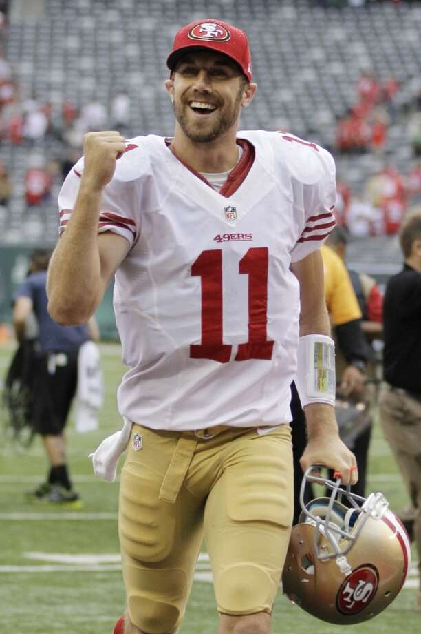 San Francisco 49ers quarterback Alex Smith reacts after an NFL football game against the New York Jets Sunday, Sept. 30, 2012, in East Rutherford, N.J. the 49ers won the game 34-0.