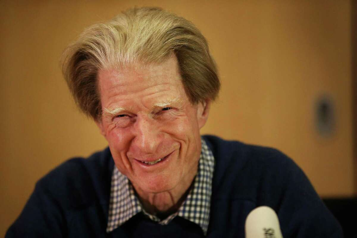 LONDON, ENGLAND - OCTOBER 08: Nobel Prize winner Sir John Gurdon smiles as he talks to reporters on October 8, 2012 in London, England. Sir John and Shinya Yamanaka from Japan have both been awarded the Nobel prize for medicine or physiology for their work as pioneers of stem cell research.