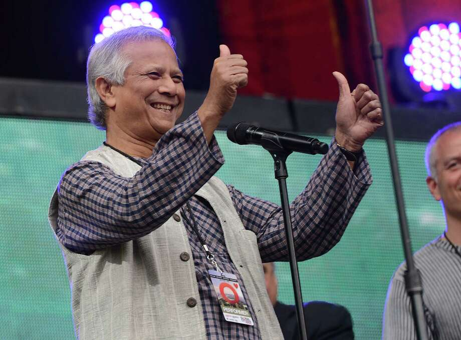 2006 Nobel Peace Prize winner Mohammad Yunus took part in the Global Citizen Festival, a mass music concert and event to urge world leaders to act toward ending extreme poverty, in Central Park in New York on September 29, 2012. Some 60,000 people attended the free festival, part of the Global Citizen Campaign.  Photo: EMMANUEL DUNAND, AFP/Getty Images / AFP