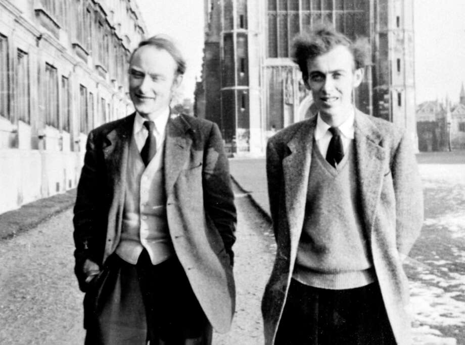 "James D. Watson, right, and Francis H. Crick walk along ""the Backs"" at England's Cambridge university in this 1950s photo. The two scientists won the Nobel Prize in 1962 for discovery of the double-helix structure of DNA. Photo: AP / COLD SPRING HARBOR LABORATORY"