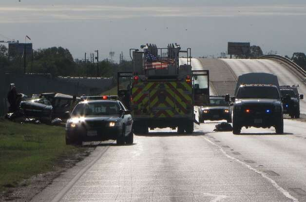 A 10-year-old child was killed early Monday, Oct. 8, 2012, during a three-vehicle accident on Southwest   Military Drive near Old Pearsall Road about 8:15 a.m. Three adults were hospitalized in critical condition following the wreck. Photo: Ana Ley/Express-News