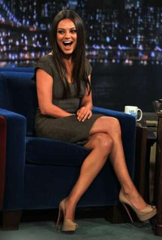 "Mila Kunis visits ""Late Night With Jimmy Fallon"" at Rockefeller Center on July 18, 2011 in New York. (Getty Images)"