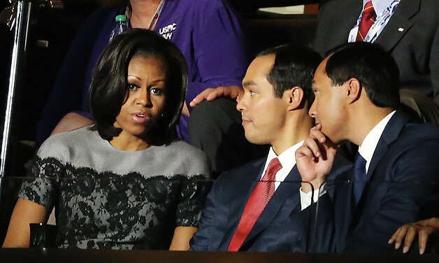 CHARLOTTE, NC - SEPTEMBER 05:  First lady Michelle Obama greets San Antonio Mayor Julian Castro (C) and his brother Joaquin Castro during day two of the Democratic National Convention at Time Warner Cable Arena on September 5, 2012 in Charlotte, North Carolina. The DNC that will run through September 7, will nominate U.S. President Barack Obama as the Democratic presidential candidate. Photo: Streeter Lecka, Getty Images / 2012 Getty Images