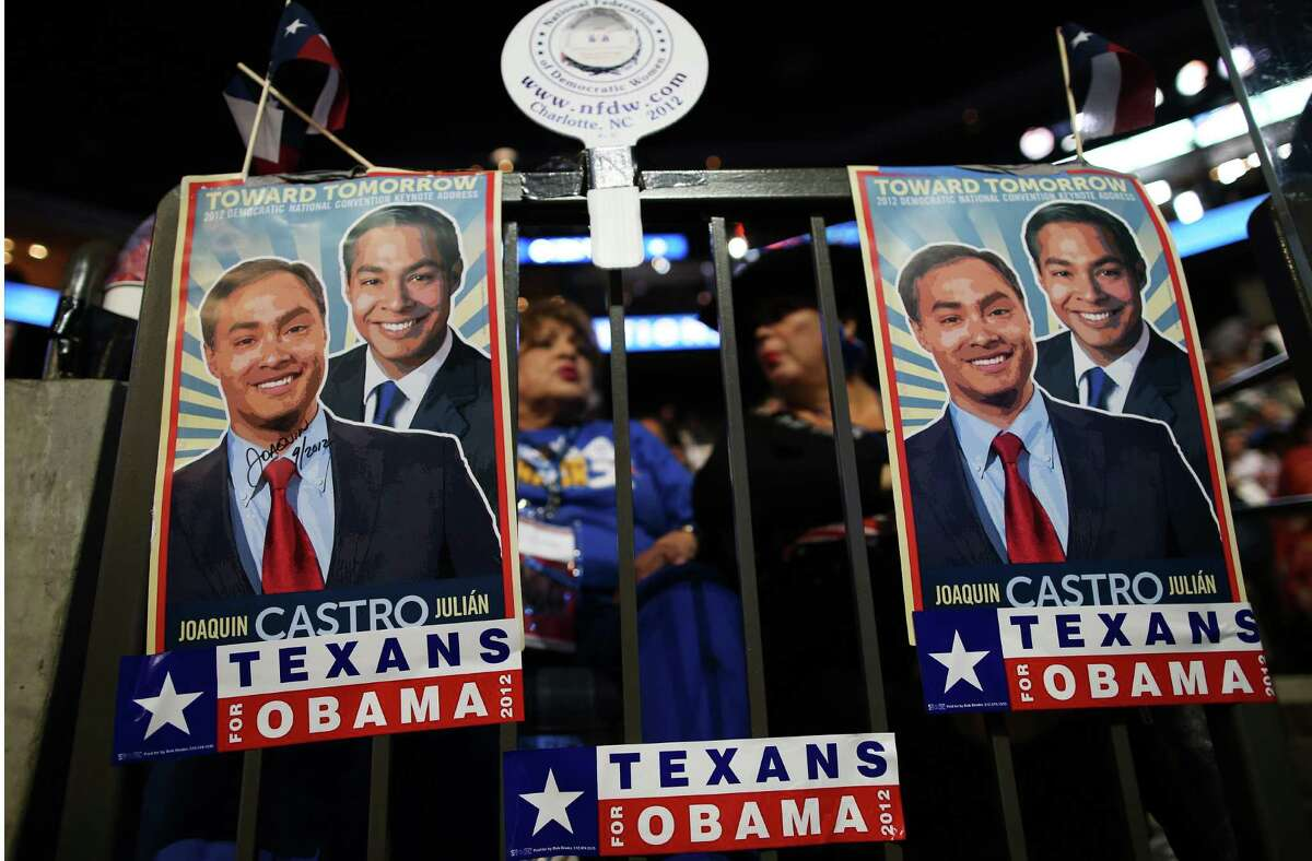CHARLOTTE, NC - SEPTEMBER 06: Campaign posters for San Antonio Mayor Julian Castro and his brother Joaquin Castro are seen during the final day of the Democratic National Convention at Time Warner Cable Arena on September 6, 2012 in Charlotte, North Carolina. The DNC, which concludes today, nominated U.S. President Barack Obama as the Democratic presidential candidate.
