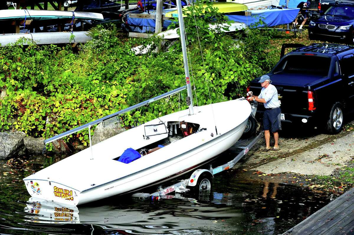 Competitors prepare to race Flying Scot sailboats in the Roger Punzi Memorial Regatta, sponsored by the Candlewood Yacht Club, in New Fairfield Saturday, Oct. 6, 2012. Roger Punzi was a member of The club and a sailor of the Flying Scot, a fast 19-foot sailboat.