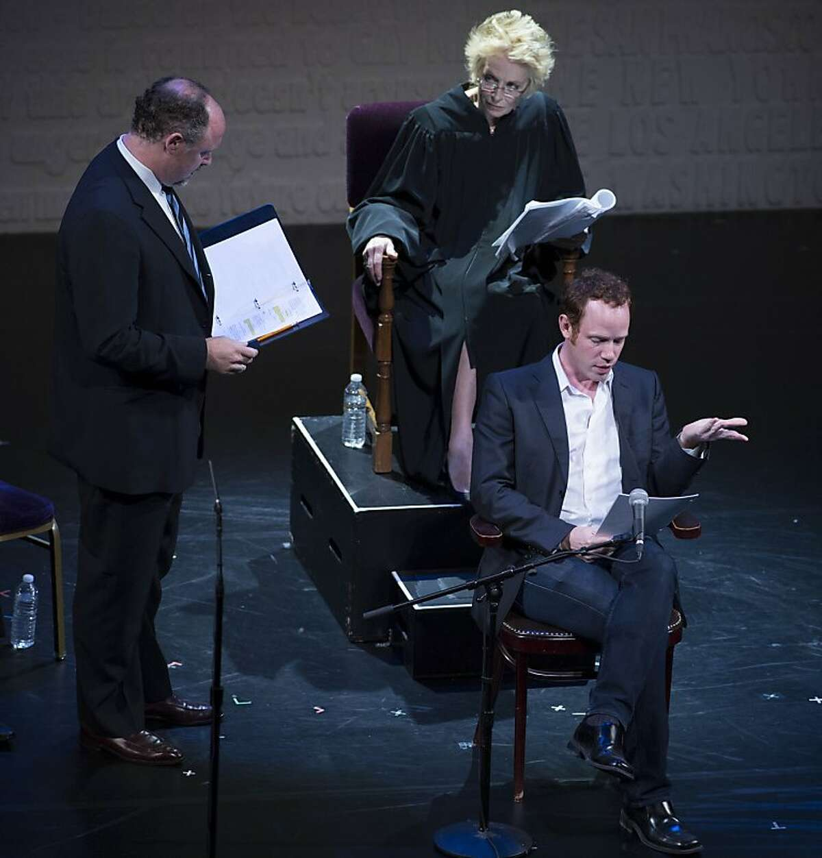 PHOTO2 California Shakespeare Theater s Artistic Director Jonathan Moscone (David Boies), Holland Taylor (Chief Judge Vaughn R. Walker) and Sean Dugan (David Blankenhorn) in A.C.T. s staged reading of Dustin Lance Black s 8