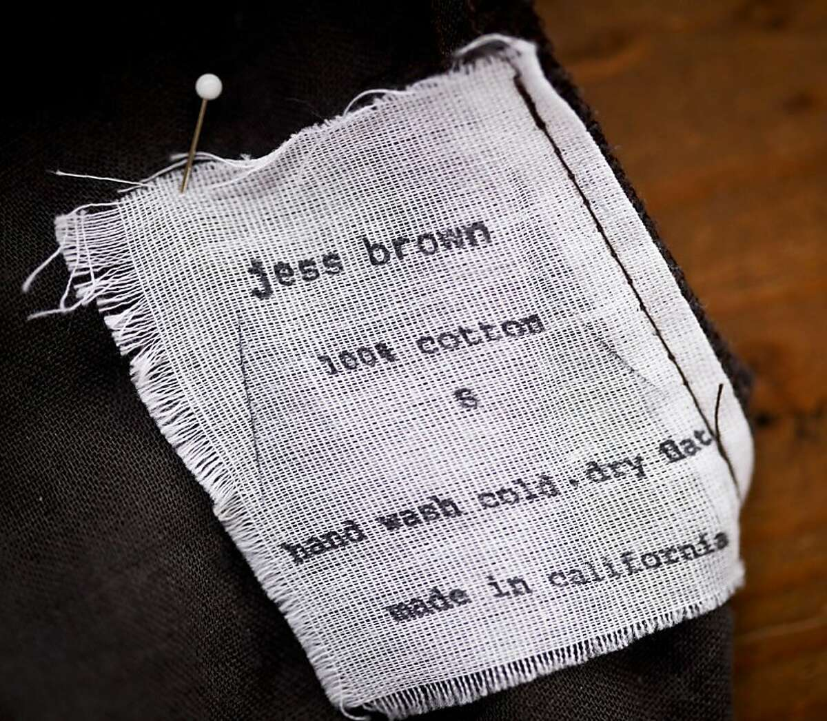 Designer Jess Brown's label is seen on Thursday, Oct. 4, 2012 in her Petaluma, Calif., home studio.