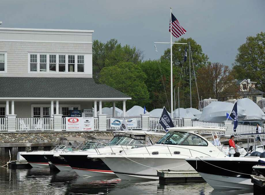 Beacon Point Marine and Greenwich Water Club in Cos Cob, shown here during the Greenwich Boat Show April 21, 2012. Photo: Bob Luckey / Greenwich Time