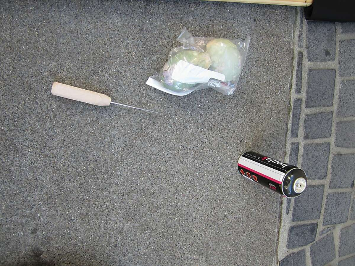 Police photos of the weapons they say protesters threw at police officer on Saturday, October 6, 2012 in the city's Financial District.