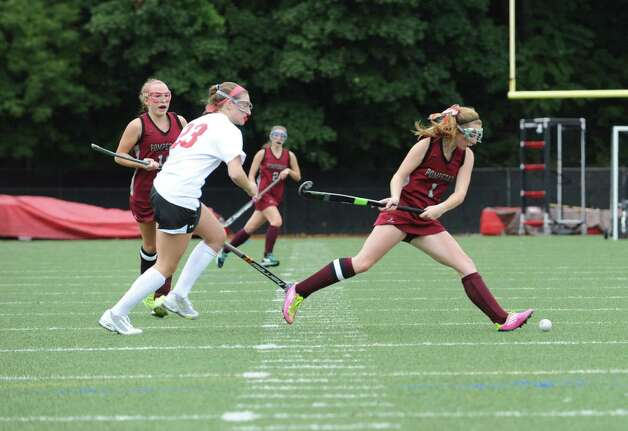 Pomperaug High School's # 1, Morgan McMinn at Greenwich High School in a game of field hockey in Greenwich, Monday, Oct. 8, 2012. Greenwich 5 to 1. Photo: Helen Neafsey / Greenwich Time