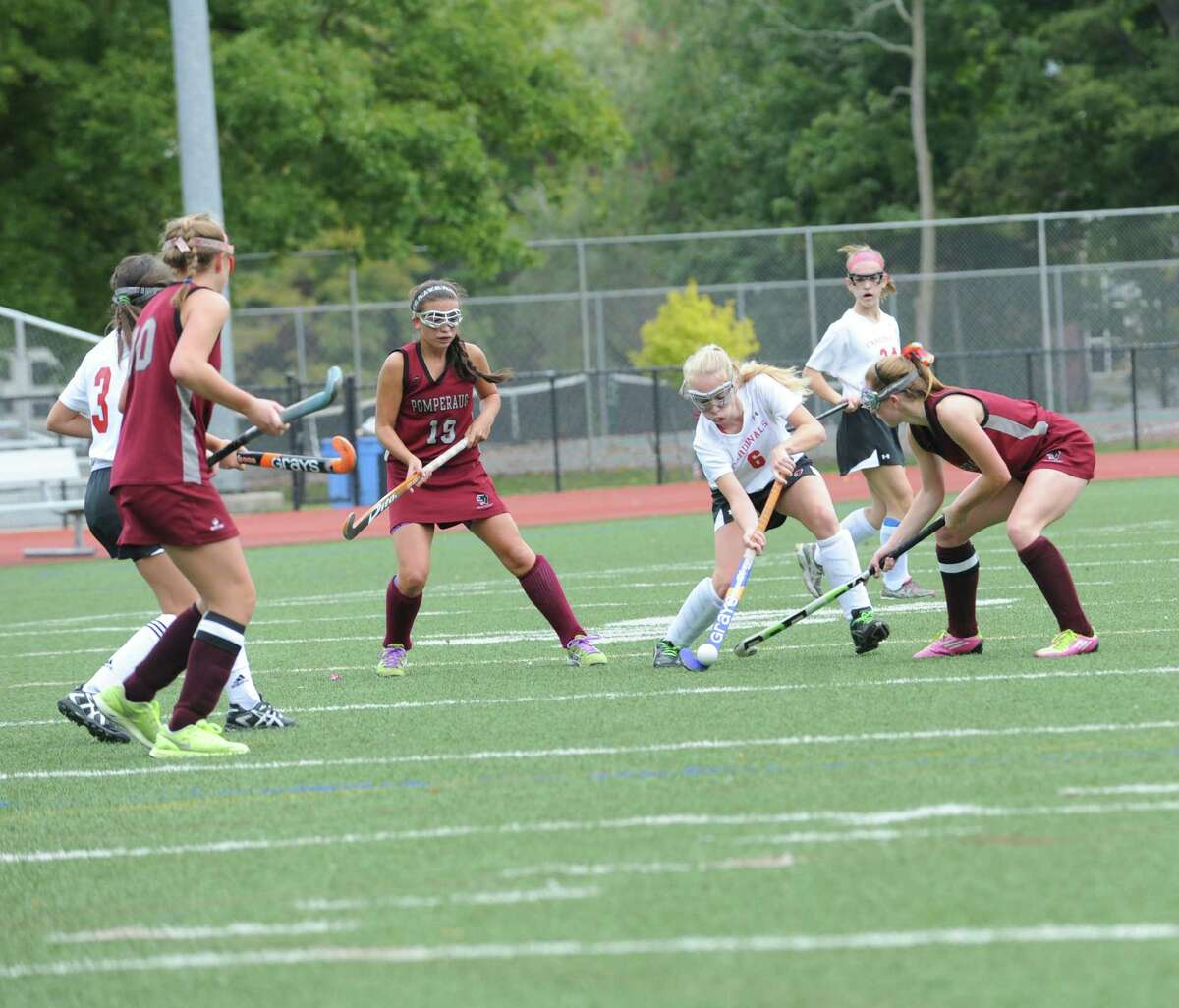 Greenwich High School's #6 Emma Montgomery in a game of field hockey with Pomperaug High School in Greenwich, Monday, Oct. 8, 2012.