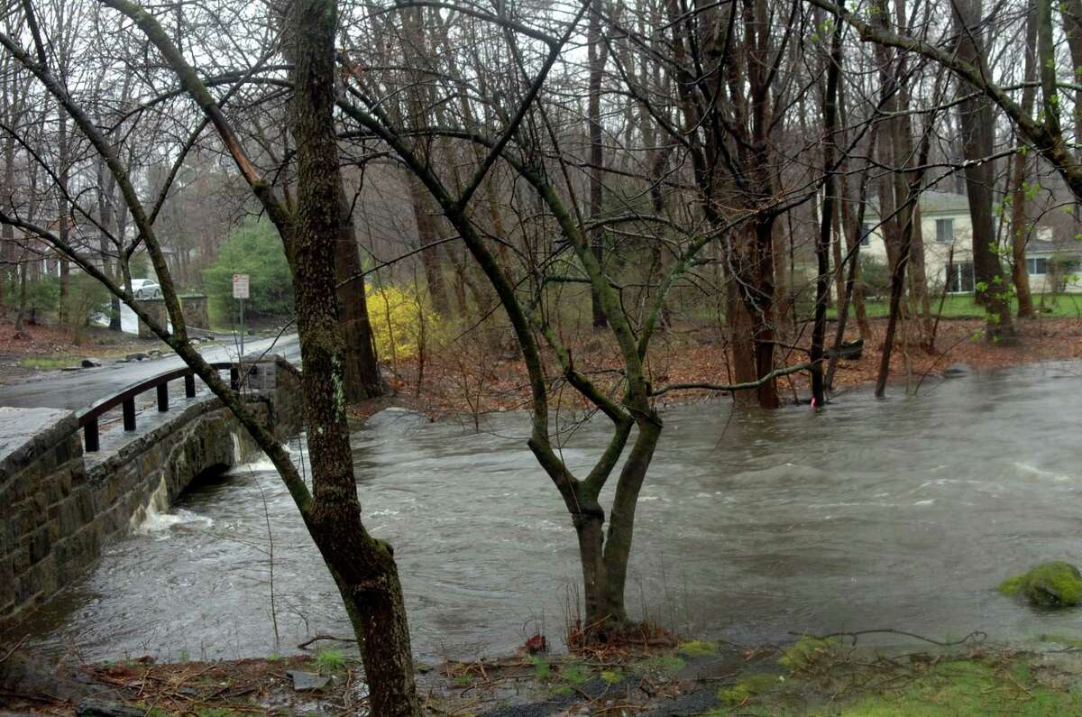 The Byram River was high at Riversville Road during the rain storm March 30, 2010.