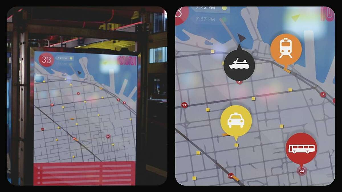 An idea to put a real time display of where buses, cabs, boats and other forms of transportation are at every MUNI bus shelter, so you can get around the city easier. Credit: San Francisco Citizens Initiative for Technology
