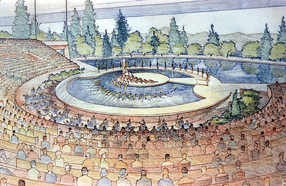 Frank Lloyd Wright's original design for Marin County Civic Center, presented in 1958, included a number of phases that either were not built, or were not built as planned. This is an image of the proposed lakeside amphitheater. Photo: See Special Instructions, SEE SPECIAL INSTRUCTIONS