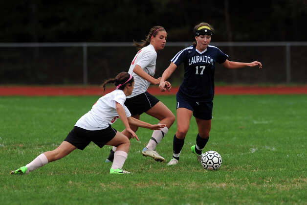 Lauralton Hall's Suzanne Lema in action against Masuk during a high school soccer game in Monroe, Conn. Oct. 8th, 2012. Photo: Ned Gerard / Connecticut Post