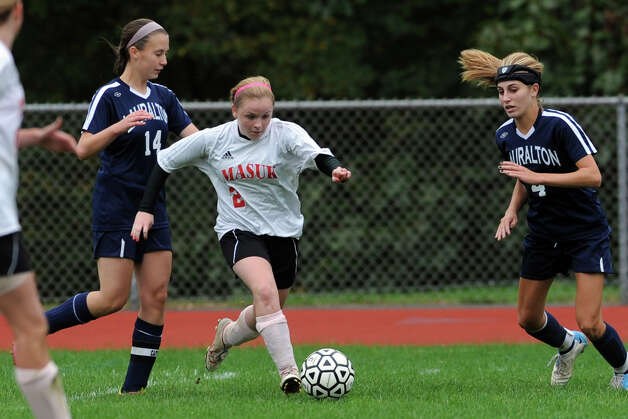 Mausk's Kelsey Brown in action against Lauralton Hall during a high school soccer game in Monroe, Conn. Oct. 8th, 2012. Photo: Ned Gerard / Connecticut Post