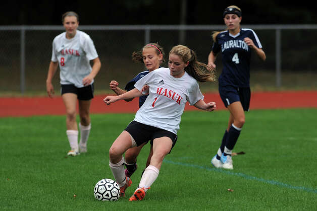 Masuk's Jamie Madden in action against Lauralton Hall during a high school soccer game in Monroe, Conn. Oct. 8th, 2012. Photo: Ned Gerard / Connecticut Post