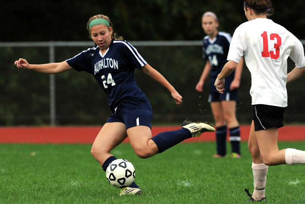 Lauralton Hall's Taylor Courbron in action against Masuk during a high school soccer game in Monroe, Conn. Oct. 8th, 2012. Photo: Ned Gerard / Connecticut Post