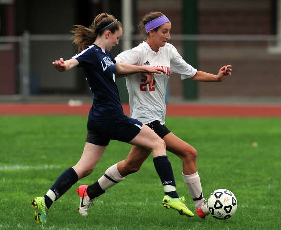 High school soccer action in Monroe, Conn. Oct. 8th, 2012. Photo: Ned Gerard / Connecticut Post