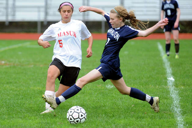 Girls soccer action between Lauralton Hall and Masuk in Monroe, Conn. Oct. 8th, 2012. Photo: Ned Gerard / Connecticut Post