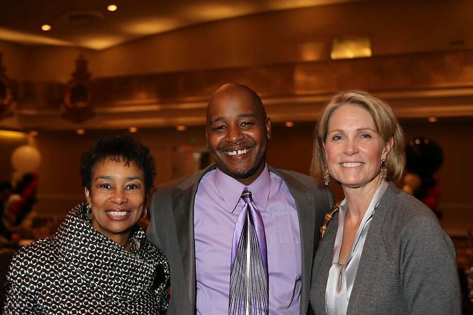 At the Basic Skills fundraiser were Anette Harris, guest speaker Lerone Matthis and former TV anchorwoman Kate Kelly. Photo: Thomas Gibbons