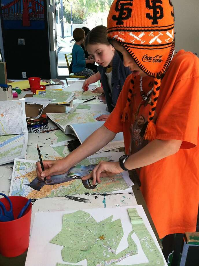 Kids craft map art at a MakeArt Workshop put on by the Museum of Craft and Design. Photo: Museum Of Craft And Design