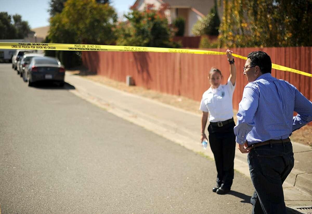 Hercules Mayor Dan Romero arrives at the scene of Susie Ko's murder on Monday, Oct. 8, 2012, in Hercules, Calif. A neighbor found Ko stabbed to death inside her Hercules home Friday night.