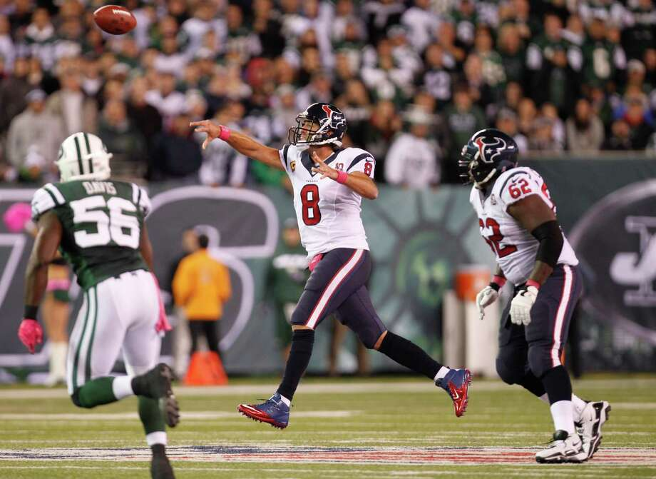 Houston Texans quarterback Matt Schaub (8) tosses a pass against the New York Jets during the second quarter of a Monday Night Football game at MetLife Stadium on Monday, Oct. 8, 2012, in East Rutherford, N.J. Photo: Brett Coomer, Houston Chronicle / © 2012  Houston Chronicle