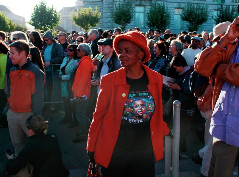 Hilda Robinson, of Oakland, waits for Obama to arrive for a fundraiser at the Bill Graham Civic Audi