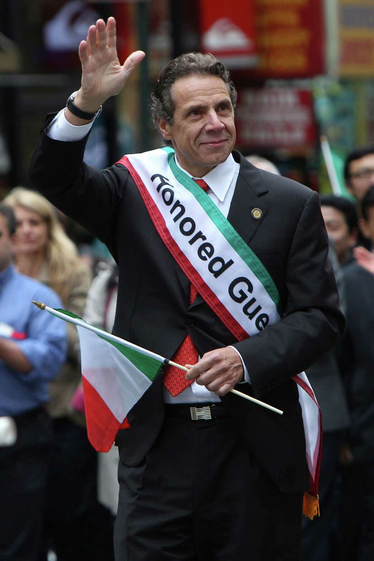New York Governor Andrew Cuomo marches in the Columbus Day parade in New York, Monday, Oct. 8, 2012. (AP Photo/Seth Wenig)